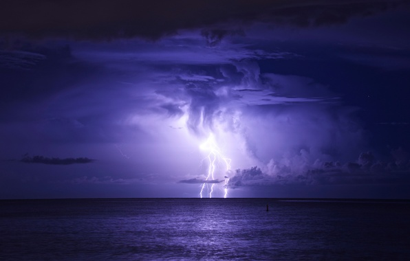 Picture sea, the storm, night, clouds, storm, lightning