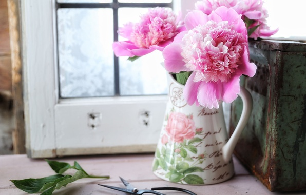 Picture style, pitcher, scissors, peonies