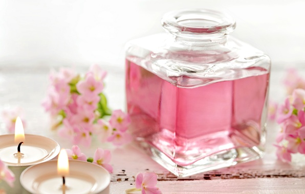 Picture candles, pink, flowers, Spa, candles, perfume, perfume, spa, oil, zen