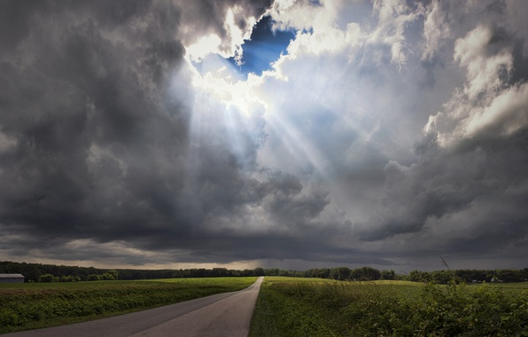 Picture road, the storm, field, the sky, grass, rays, trees, clouds, VA, USA, clearance, Virginia
