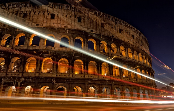 Picture road, night, the city, lights, excerpt, Rome, Colosseum, Italy, architecture, Italy, Colosseum, Rome, amphitheatre, Colosseo, …
