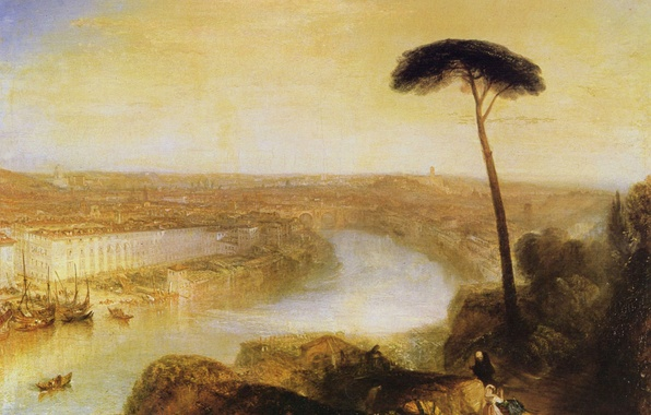 Picture trees, landscape, the city, river, home, picture, Rome, William Turner, View from the Aventine Hill