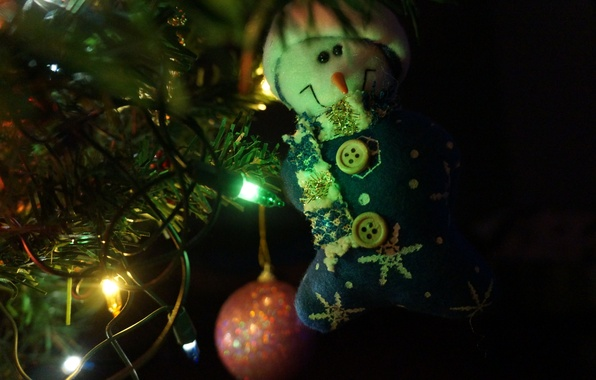 Picture Macro, Light bulb, New year, Tree, Toys, The snowman