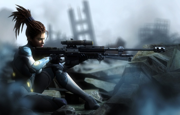 Picture girl, ruins, Sarah Kerrigan, sniper rifle