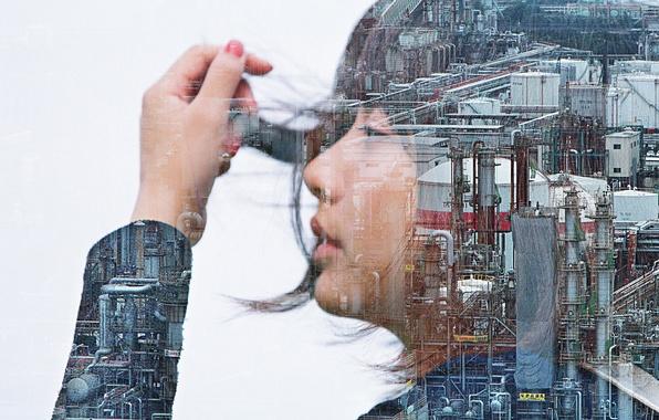 Photo wallpaper girl, double exposure, industrial zone
