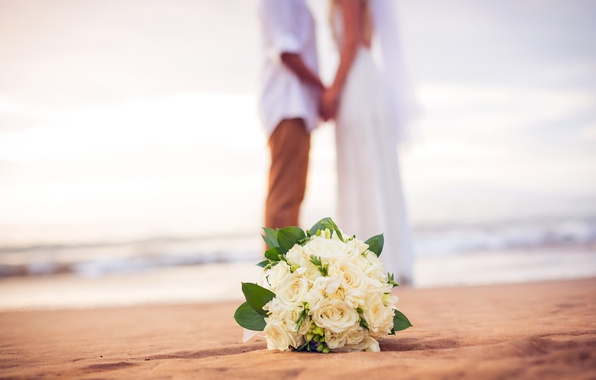 Picture beach, sea, flowers, couple, bouquet, wedding, just married, bridal