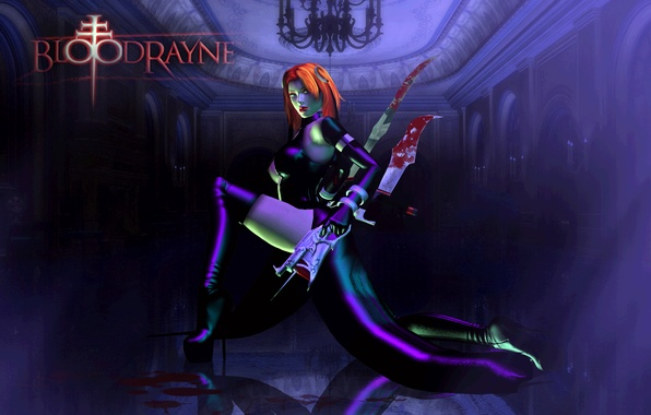 Picture look, girl, pose, weapons, blood, the game, latex, boots, red hair, vampire, BloodRayne