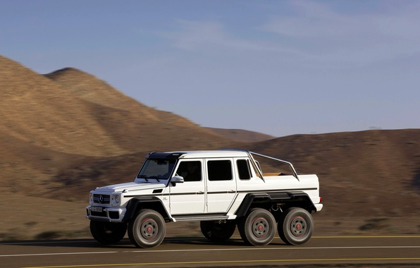 Picture white, Mercedes-Benz, Auto, Day, side view, AMG, SUV, G63, 6x6, In Motion