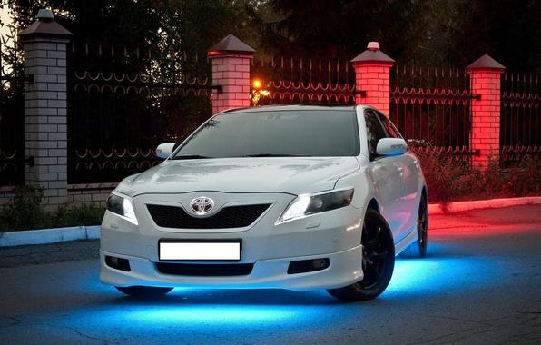 Picture machine, auto, neon, white, hybrid, hybrid, Toyota, camry, Camry