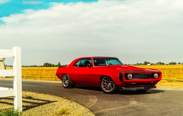 Picture Chevrolet, Muscle, 1969, Camaro, Red, Car, Front, Touring, Hellfire, Pro