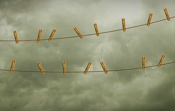 Picture the sky, rope, clothespins