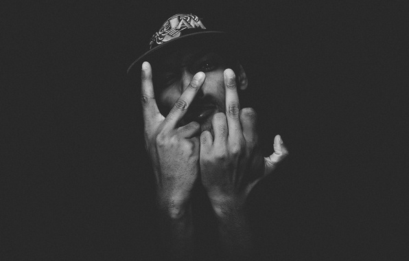 Picture eyes, darkness, hat, hands, male