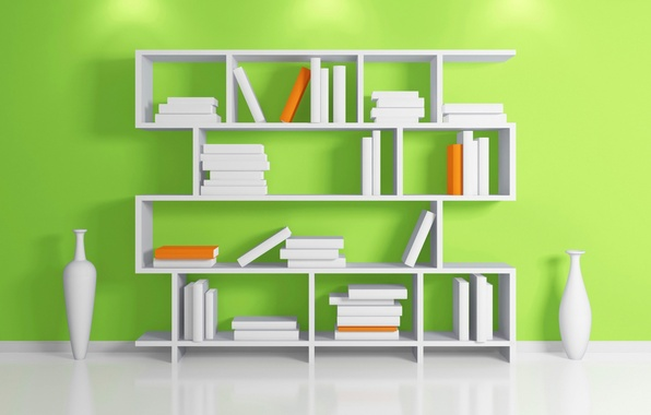 Picture wall, books, floor, shelf, vase, rack