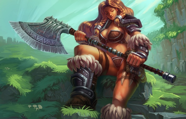 Picture girl, stones, weapons, art, axe, axe, barbarian, sitting