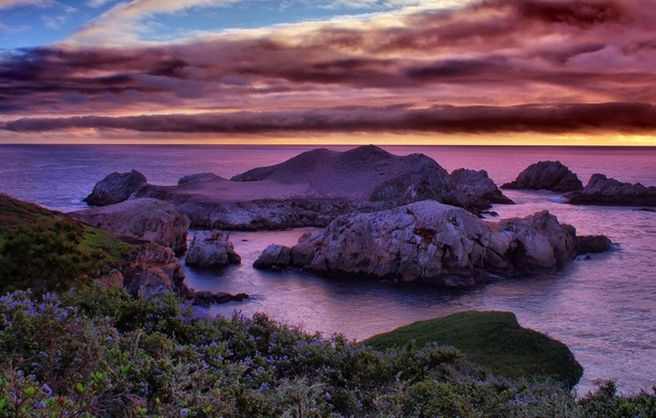 Picture sea, the sky, clouds, sunset, stones, rocks, coast, horizon, CA, USA, reefs, California Dreaming