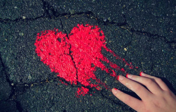 Picture BACKGROUND, RED, HAND, HEART, PAINT, ASPHALT