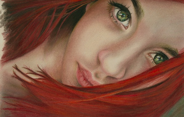 Picture eyes, look, girl, face, hair, art, green, lips, red, painting, neck