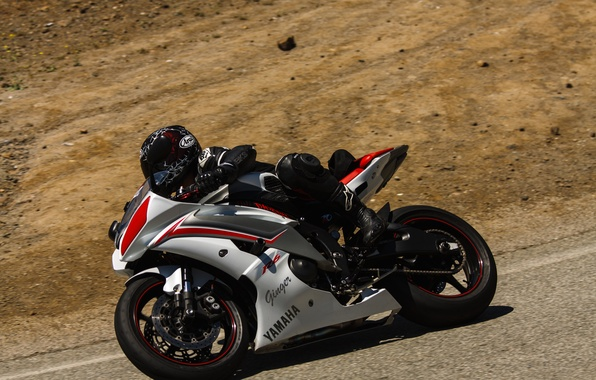 Picture track, motorcycle, racer, racing, a turn passage, Yamaha R6