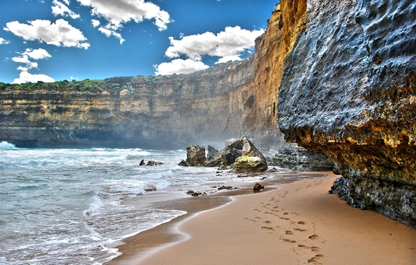 Picture sand, sea, the sky, water, clouds, landscape, mountains, traces, nature, rocks