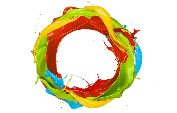 Picture drops, squirt, paint, round, colors, ring, design, splash, paint