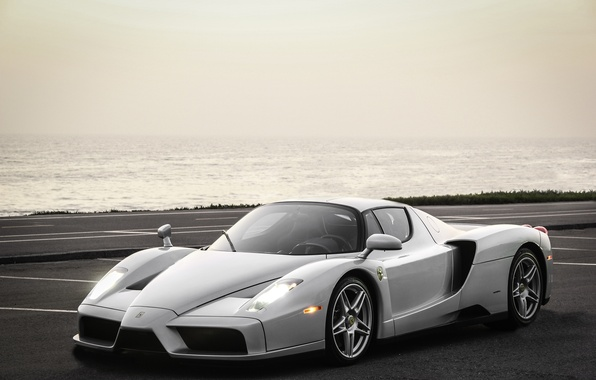Picture road, sea, grass, silver, Ferrari, silver, grass, Ferrari, road, sea, enzo, Enzo