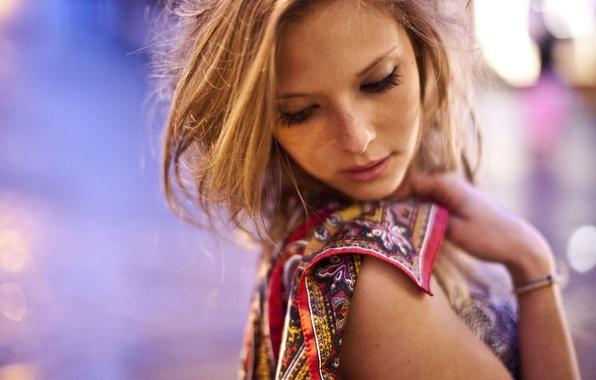 Picture girl, face, blonde, freckles, girl, model