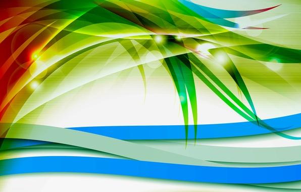 Picture leaves, light, line, strip, plant, color, vector