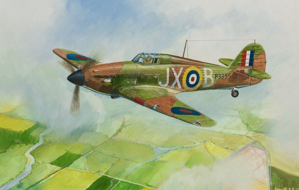 Picture the sky, clouds, earth, figure, field, art, the plane, British, fighter-interceptor, WW2, Hurricane Mk-1, patrols
