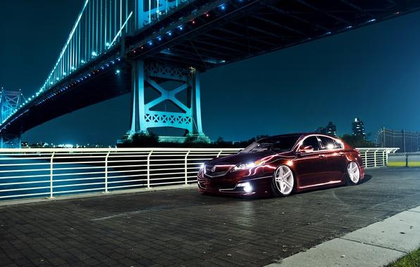 Picture night, bridge, the city, black, Honda, Accord, Honda, Acura, Acura, TSX