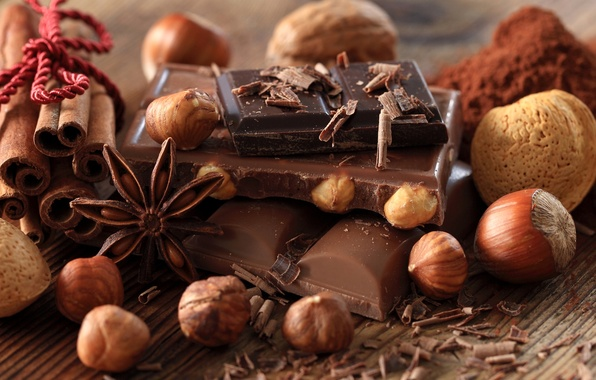 Picture black, chocolate, nuts, cinnamon, dessert, slices, sweet, chips, cocoa, milk, star anise, Anis