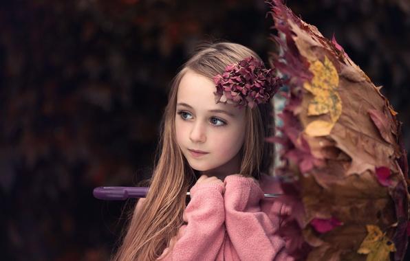 Picture leaves, umbrella, girl