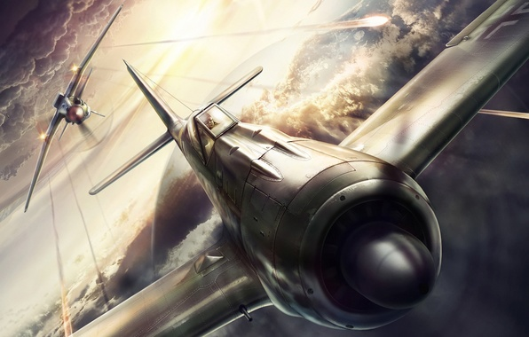 Picture design, the plane, attack, figure, fighter, battle, the fire, the second world war, computer graphics, …