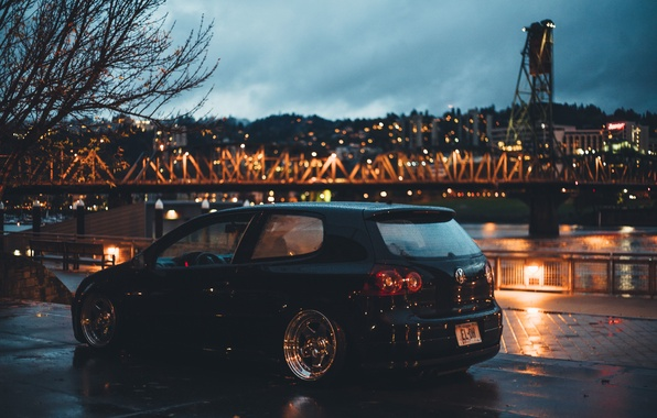Picture clouds, trees, night, bridge, the city, lights, Volkswagen, wheel, twilight, Golf, tail lights