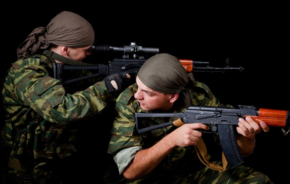 Picture Soldiers, Army, Kalashnikov, Machine, sight, AK 74, optical