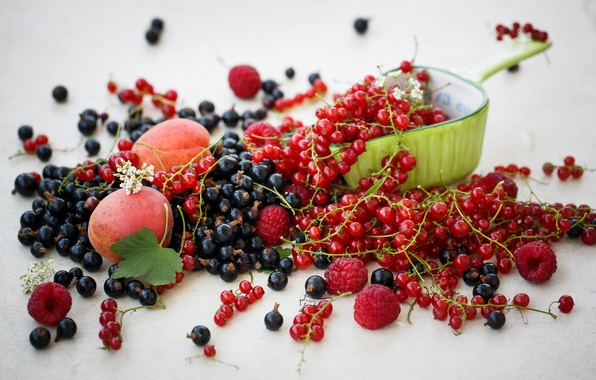 Picture berries, raspberry, food, black, fruit, red, currants, apricots