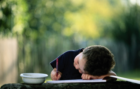 Picture child, boy, handle, album, Cup, pencil, bowl, picture, writes, blurred background, draw