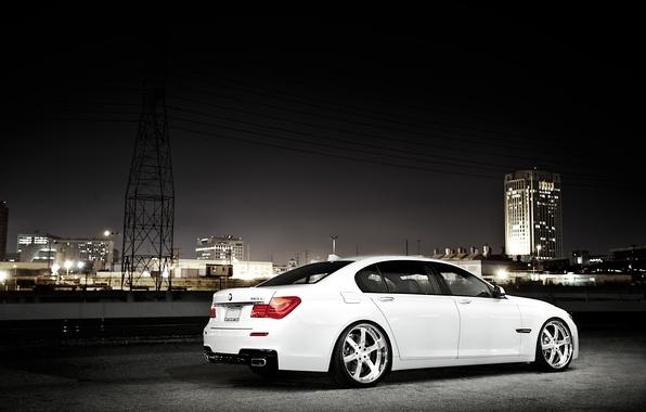 Picture white, night, the city, BMW, BMW, white, skyscraper, 750Li, 7 Series, F02