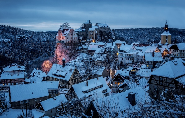 Picture winter, snow, the city, home, the evening, Germany, Germany, district, Saxony, The District Of Saxon …