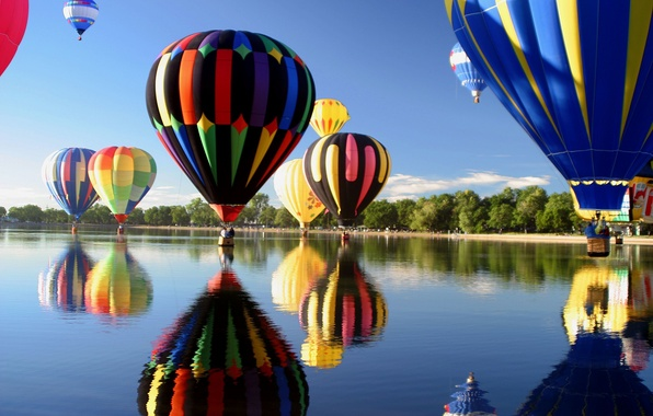 Picture sea, the sky, leaves, water, clouds, trees, landscape, reflection, river, balloons, background, tree, leaves, widescreen, …