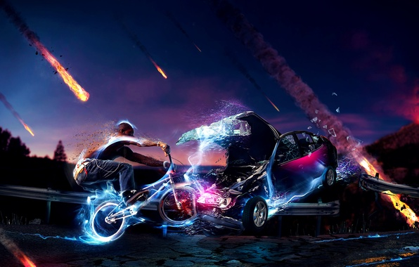 Picture car, fire, cycle