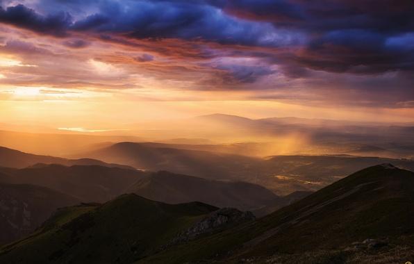 Picture the sky, clouds, light, mountains, rain, valley, Carpathians, Tatras