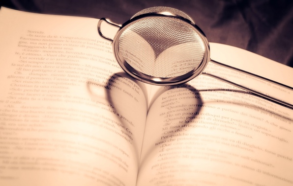 Picture heart, shadow, book, page, strainer