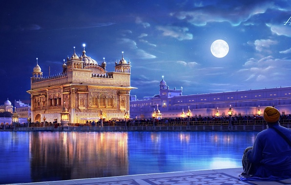 Picture night, the city, lights, river, people, the moon, people, art, India, Punjab, The Golden temple