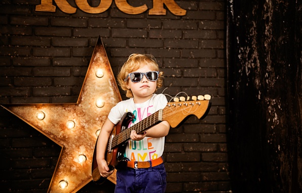 Picture star, guitar, child, boy, glasses, guitar, musician, style, boy, child