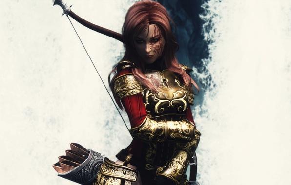 Picture girl, the game, armor, white background, armor, arrows, Skyrim, The Elder Scrolls V, Skyrim