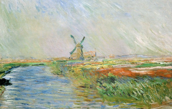Picture landscape, river, picture, channel, Claude Monet, windmill, Field of Tulips in Holland