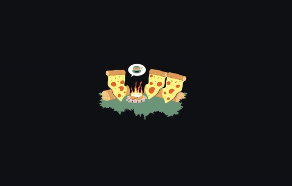 Picture Minimalism, Humor, Art, Black, Pizza, Minimalism