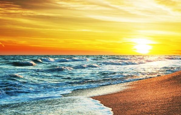 Picture sand, sea, beach, the sky, the sun, sunset, shore, summer, beach, sea, sunset