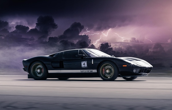 Picture Ford, Auto, Speed, Clouds, Zipper, Car, Clouds, Speed, Lightning