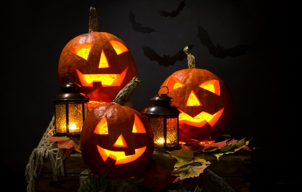 Picture autumn, leaves, night, candles, lantern, Halloween, pumpkin, Halloween, bats, smile, face, holiday, pumpkin